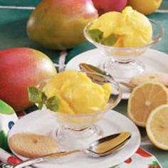 Mango Lemon Sorbet Recipe -You'll love the sunny color and fruity flavor of this light dessert. If you can't find mangoes, substitute fresh peaches. To peal peaches, drop them into boiling water for a few seconds. Then you can easily slip the skins right off.                                                               —Test Kitchen