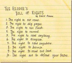 the reader's bill of rights.