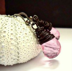 Pink Earrings Wire Wrapped Briolettes Handmade by BohemiaJewelry, $34.00