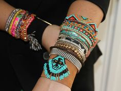 Modern Bohemian Meets Summer Style - brightly colored and tribal bracelet stacks