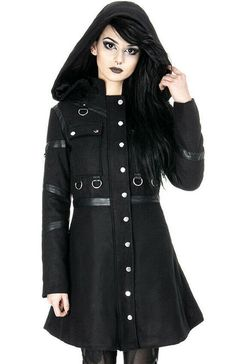 Women fashion Over 40 Spring - - - Women fashion Videos Boho Embroidery Gothic Girls, Gothic Lolita, Gothic Rock, Alternative Mode, Alternative Fashion, Fashion Over 40, Mädchen In Uniform, Black Winter Coat, Frack
