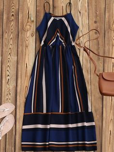 Dark Blue Contrast Stripe Cami Midi Sundress