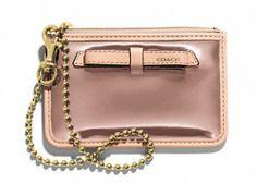 NWT COACH POPPY MIRROR Metallic ID Skinny Wallet Card Case in ROSE GOLD