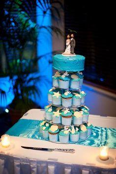 cup cake tower, cup cake wedding cake, beach theme wedding cake, shells wedding cake, blue wedding cake, island wedding cake