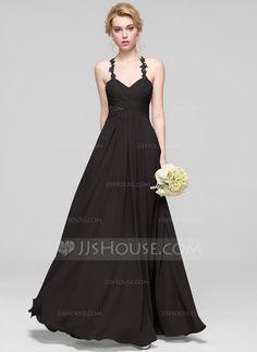 A-Line/Princess Sweetheart Floor-Length Ruffle Zipper Up Regular Straps Sleeveless No Other Colors Spring Summer Fall General Plus Chiffon Bridesmaid Dress