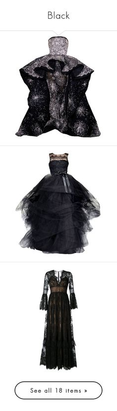 """""""Black"""" by matan-sowatskey on Polyvore featuring dresses, gowns, long dresses, black, lacy dress, zuhair murad dresses, zuhair murad gowns, silk dress, silk evening gowns and maxi dresses"""