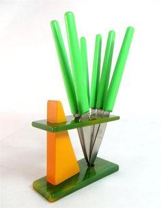 Art Deco German Apple Green Bakelite Knife Stand + 6 Plastic Fruit Knives 1940s - Ebay £29.95