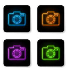 neon camera icon glowing vectorstock tetra cancer