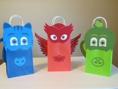 PJ Mask Inspired Goody Bags set of 6 by LoluParty on Etsy Barbie Birthday Party, 1st Birthday Party Themes, Superhero Birthday Party, Pj Mask Decorations, Festa Pj Masks, Minnie Mouse Theme, Mask Party, Goody Bags, Etsy