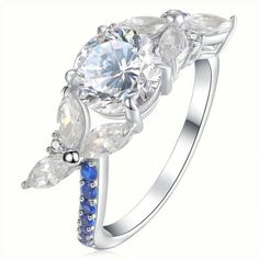 1.5 Ct Little Wing Shape Wedding Ring Genuine 925 Sterling Silver