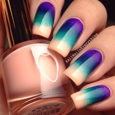 """Instagram media by allnailseverything - Gradient base for my mani. I used Floss Gloss' """"pony"""", E.l.f's """"teal blue"""" & China Glaze's """"creative fantasy""""."""