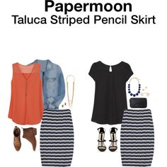 So I have a new pencil skirt similar to this except the stripes are a little wider and its gray/white. Looking for a top that compliments it.
