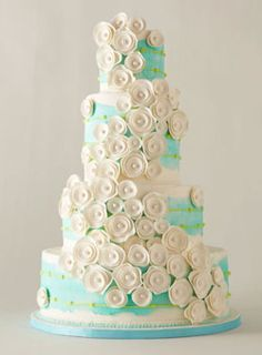 Brides Magazine: America's Most Beautiful Cakes : Wedding Cakes Gallery Beautiful Wedding Cakes, Gorgeous Cakes, Pretty Cakes, Cute Cakes, Amazing Cakes, Cake Wedding, Wedding Recipe, Aqua Wedding, Unconventional Wedding Cake