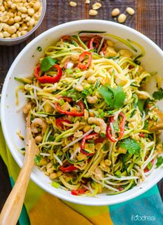 Pad Thai Zucchini Noodle Salad by ifoodreal: With half the calories of the regular version, this goes together in 20 minutes. #Pad_Thai #Healthy #Light