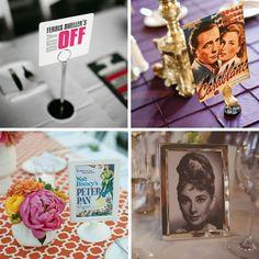 Films Riso Studio/Clutch Events via Style Me Pretty (top left); Super Weddings.com (top right); Frenzel Studios/Celebrations of Joy via 100 Layer Cake; Devlin Photos via Rock my Wedding  | unique table names #wedding