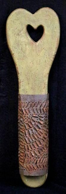 "Painted Grater with Heart Cutout, 18"" long, 19th century."