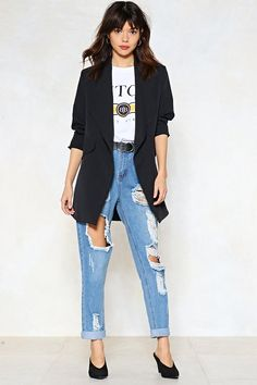 Long and Silent Type Waterfall Blazer