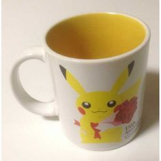 Pokemon Center 2013 15th Anniversary Pikachu Bulbasaur Squirtle Cyndaquil & Friends Ceramic Mug (Yellow) Lottery Prize NOT SOLD IN STORES