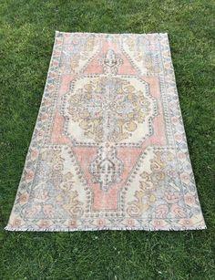 "Unique Handwoven Vintage Turkish Rug,Home Decor Low Pile Oushak Rug 4'1""x6'10"" | Antiques, Rugs & Carpets | eBay!"