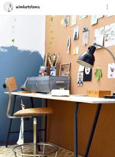 denim drift en kurk wand Teenage Girl Bedrooms, Teenage Room, Girls Bedroom, Denim Drift, Color Of The Year 2017, Drafting Desk, Color Inspiration, Kids Room, New Homes