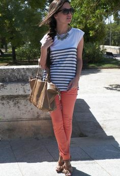 Coral pants stripped top