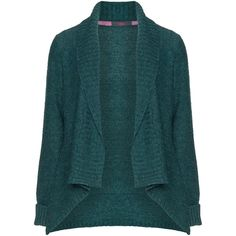 Rimini Shawl-collar open cardigan ($77) ❤ liked on Polyvore featuring tops, cardigans, relaxed fit tops, rimini, blue cardigan, loose tops and blue top