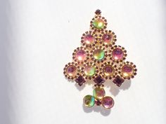 Gale and Friends Christmas Tree Brooch iridescent color changing stones AB348 by MeyankeeGliterz on Etsy