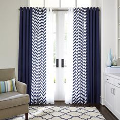 JCPenney Home™ Cotton Classics Broken Chevron Grommet-Top Curtain Panel