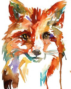 Fox Watercolor Painting Print Fox Painting Fox Illustration