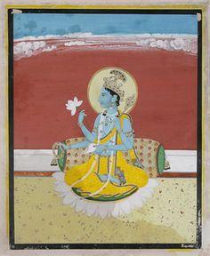 SEATED VISHNU WITH ATTRIBUTES, #Pahari, late 18th Century CE, Live Auction, Mumbai, December 17, 2014