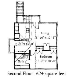 Second Floor Plan of Historic   Garage Plan 73752