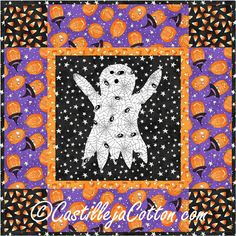 Mini wall hanging for Halloween. The kids will love it! Harvest Ghost Quilt Pattern CJC-4061 by Castilleja Cotton - Diane McGregor.  Check out our Autumn patterns. https://www.pinterest.com/quiltwomancom/autumn-fall-patterns/  Subscribe to our mailing list for updates on new patterns and sales! https://visitor.constantcontact.com/manage/optin?v=001nInsvTYVCuDEFMt6NnF5AZm5OdNtzij2ua4k-qgFIzX6B22GyGeBWSrTG2Of_W0RDlB-QaVpNqTrhbz9y39jbLrD2dlEPkoHf_P3E6E5nBNVQNAEUs-xVA%3D%3D