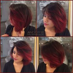 Red Balayage & Hair Highlights Picture Description Gorgeous Fire Red Balayage Ombre on Short Hair by Andy Carmel Balayage, Red Balayage Hair, Brown Ombre Hair, Ombre Hair Color, Hair Highlights, Short Balayage, Balayage Brunette, Beige Hair, Hair Looks