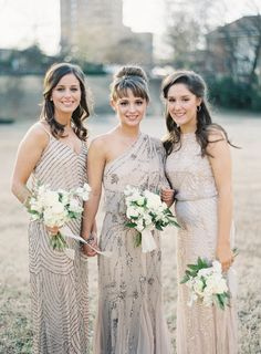 One of the hottest wedding trends are neutral bridesmaid dresses. Find ideas and inspiration to steal the look. Bridesmaids And Groomsmen, Wedding Bridesmaids, Wedding Attire, Wedding Dresses, Dresses Dresses, Winter Bridesmaids, Beige Dresses, Sparkly Bridesmaid Dress, Bridesmaid Flowers