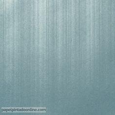 Papel Pintado Milan CO00136, papel liso azul verdoso con rayas verticales metalizadas.