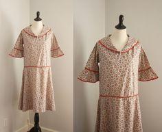 1920s dress vintage 20s cotton print day dress by 1932vintage