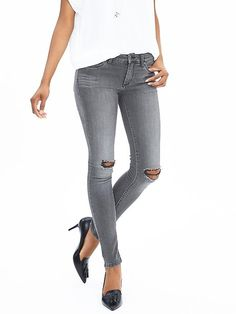 Destroyed Gray Skinny Jean