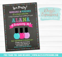 Printable Spa Chalkboard Birthday Invitation | Manicure and Pedicure Party | Girls Nail Salon Invite | Pampered Party | Spa Party | Cupcake Toppers | Favor Tag | Food Labels | Banner | Signs | Party Package Decor Available