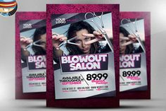 Blowout Hair Salon Flyer Template Flyer Templates   Flyer