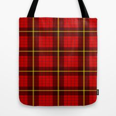 #Red #Tartan Design #Tote #Bag