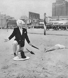 Magician  Russell Swann and assistant June Nolden in Atlantic City, New Jersey, 1950