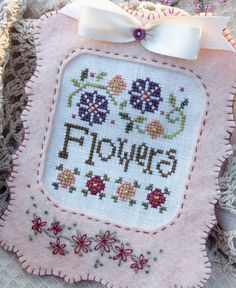 Garden Flowers Cross Stitch Embroidered by SnowBerryNeedleArts