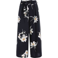 Floral Belted Wide Leg Pants ($23) ❤ liked on Polyvore featuring pants, zaful, blue floral pants, floral print pants, floral printed pants, wide leg trousers and wide leg pants