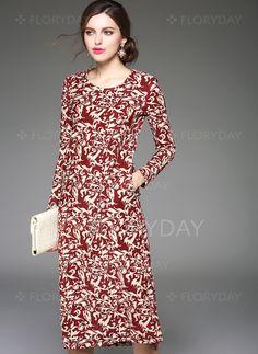 Dresses - $102.18 - Cotton Floral Long Sleeve Mid-Calf Vintage Dresses…