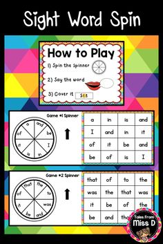 Help your students retain sight words with this fun and engaging Sight Word Spin game. Students take turns to spin the spinner, say the word and cover the word on their board. The first player to cover all the boxes/get 4 in a row is the winner. 12 words covered = a, and, be, I, in, is, it, of, that, the, to, was © Tales From Miss D