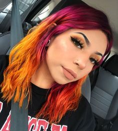 Cant ever go wrong with winged eyeliner🖤 Cutie used our Brush Tip Eyeliner ✨ Hair Color Streaks, Hair Color Purple, Hair Dye Colors, Cool Hair Color, Pink Hair, Pastel Hair, Purple And Green Hair, Two Color Hair, Dyed Hair Purple