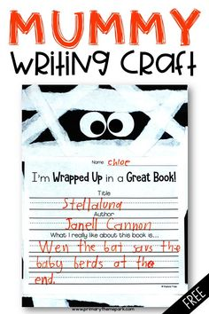 What a fun Halloween writing activity! Tear strips of white paper and glue onto black construction paper to create this adorable mummy writing craft. Includes the free mummy writing template. Quick Halloween Crafts, Mummy Crafts, Halloween Activities For Kids, Felt Crafts, Halloween Fun, Paper Crafts, Kids Writing, Writing Paper, Writing Activities