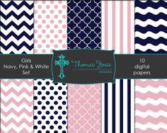 Pink and Navy Blue Girl Digital Paper Chevron Paper Polka Dot Paper Quatrefoil Paper Stripe Paper Wavy Paper 8.5 x 11 - Instant Download