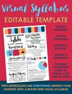 Visual Syllabus Editable Template -- Create your own -- VI Classroom Procedures, School Classroom, Classroom Organization, Classroom Management, Classroom Ideas, Syllabus Template, English Teaching Materials, Gymnasium, Teaching Tools