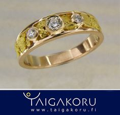 KVS66 Kultahippu, vihkisormus, kulta. Gold nugget, wedding ring, diamonds. www.taigakoru.fi